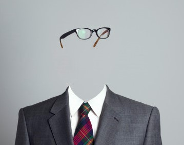 Businessman with no face, looking right